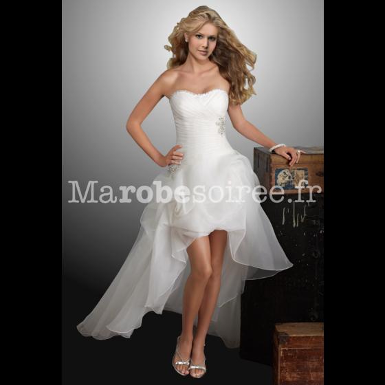robe de mari e amandine avec tra ne asymetrique bustier pliss. Black Bedroom Furniture Sets. Home Design Ideas