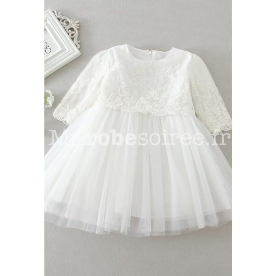 80755469f17 Robe baptême blanc courte pour bébé