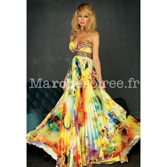Robe de soir e longue imprim e fleurie laura busiter d collet for Magasins de robe de mariage charleston sc