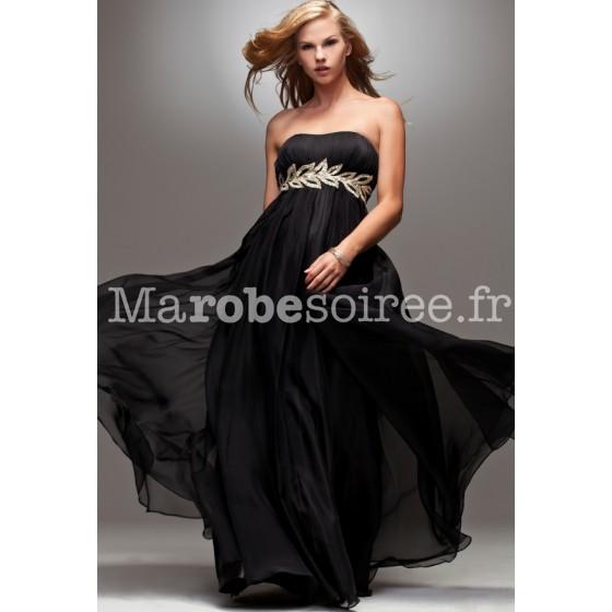 8dc224fd56f robe de soirée hebe mousseline noire ceinturé par des feuilles d or