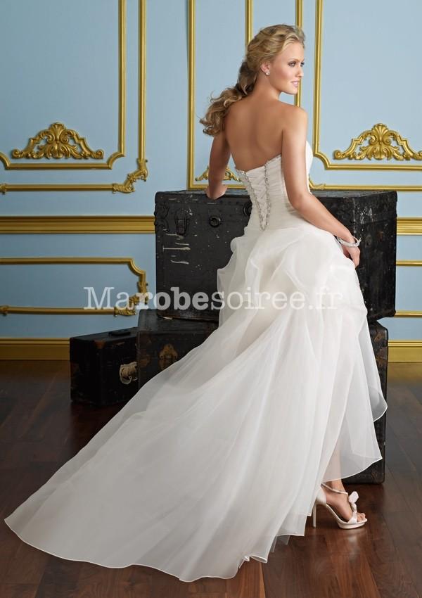 robe de mari e amandine avec tra ne asymetrique bustier pliss