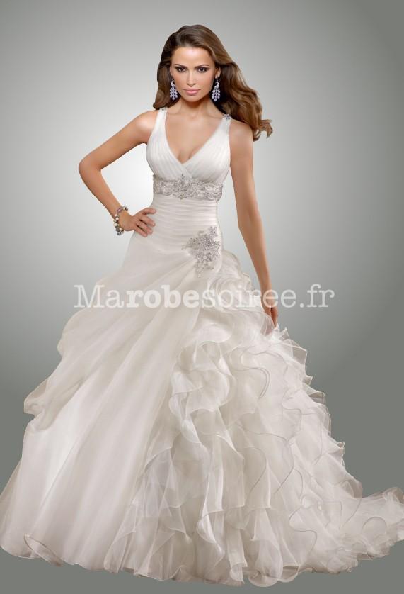 Robe de mari e adele ceintur e en organza bretelles et for Robes de mariage de juin