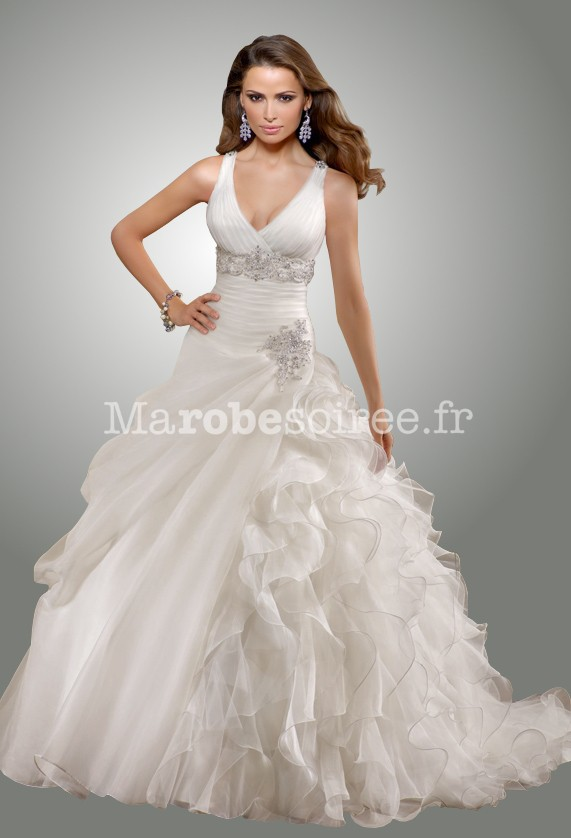 Robe de mari e adele ceintur e en organza bretelles et for Photos de dysfonctionnement de robe de mariage