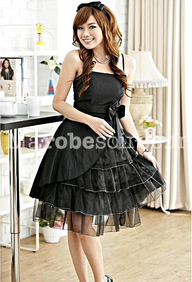 robe babydoll bal emma en dentelle tuile et taffetas asym triques. Black Bedroom Furniture Sets. Home Design Ideas