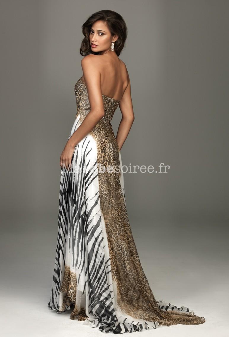 robe de c r monie tigresse en mousseline camille longue l pard z bre. Black Bedroom Furniture Sets. Home Design Ideas