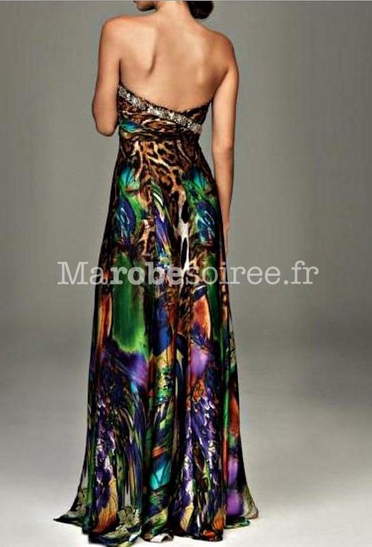 Robe de soirée Lucie longue motif léopard