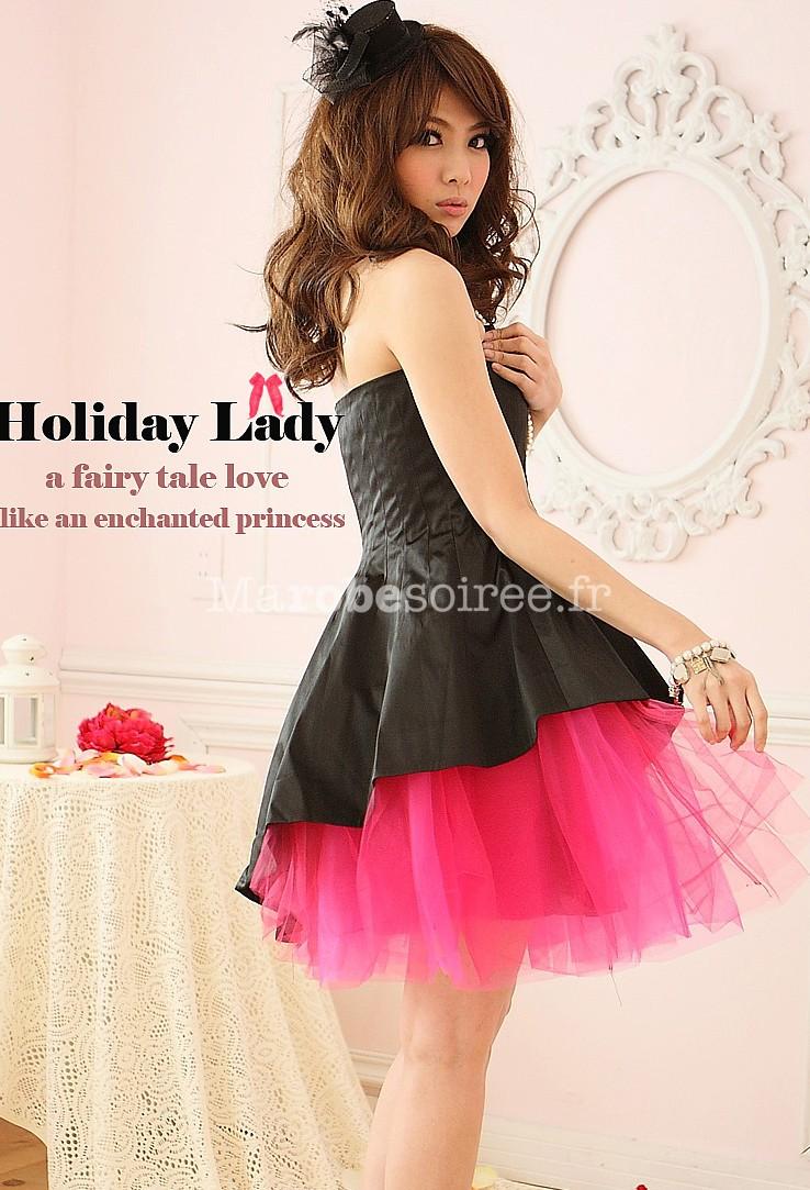 robe de soir e courte en satin et tulle noir esprit rock 39 n. Black Bedroom Furniture Sets. Home Design Ideas
