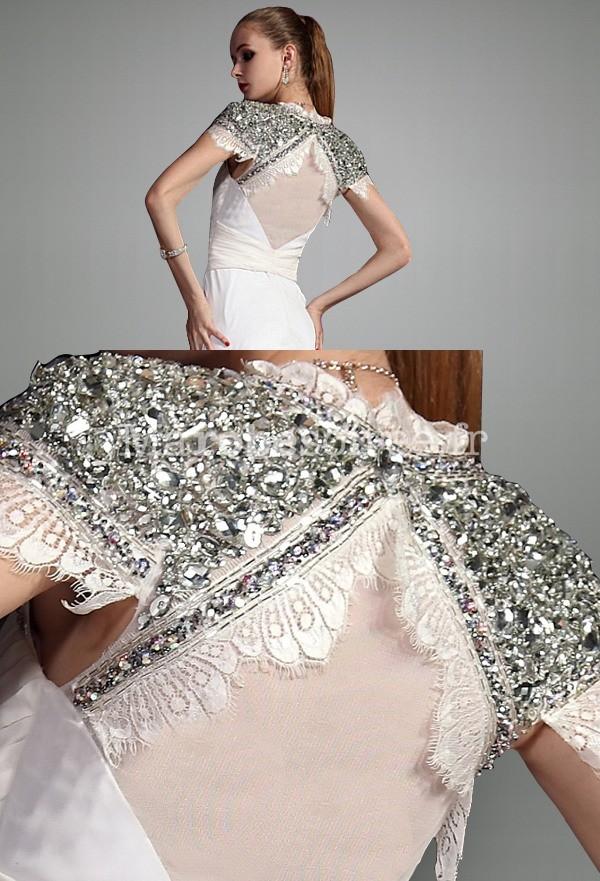 robe de soir e longue soan en mousseline avec traine tr s fluide. Black Bedroom Furniture Sets. Home Design Ideas