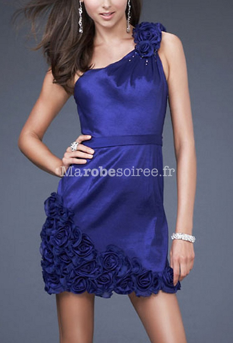 Robe de cocktail florale bleu
