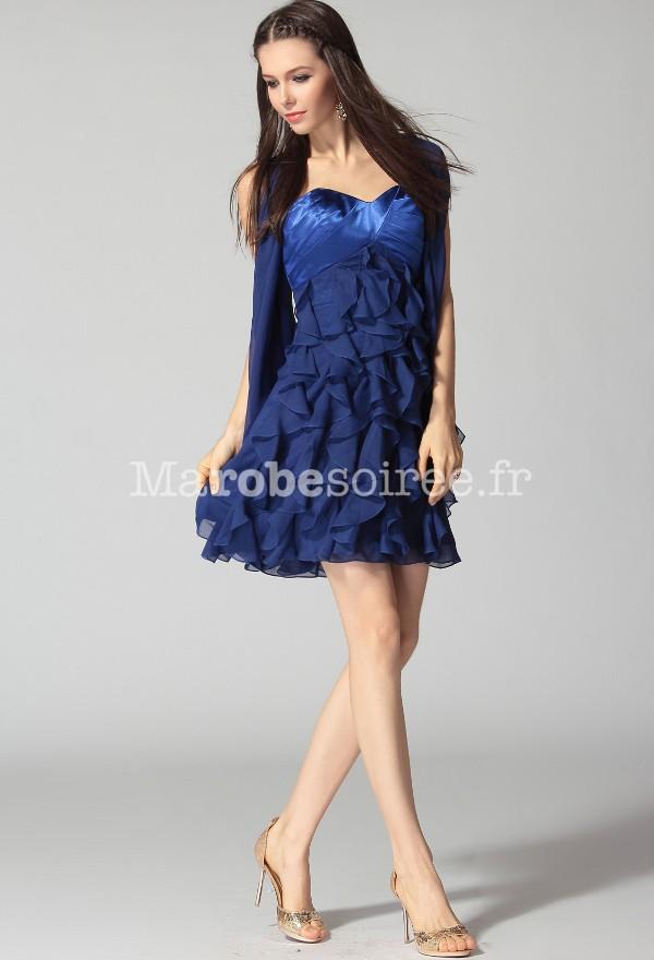 Robe de cocktail courte bleu nuit