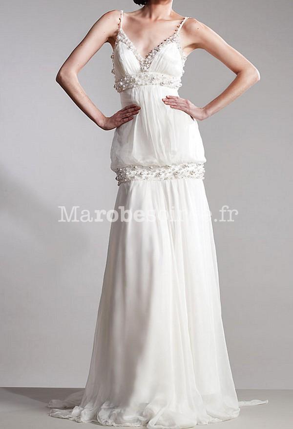 robe de mari e glamour ann es vintage 20 39 perl es bretelle fine. Black Bedroom Furniture Sets. Home Design Ideas