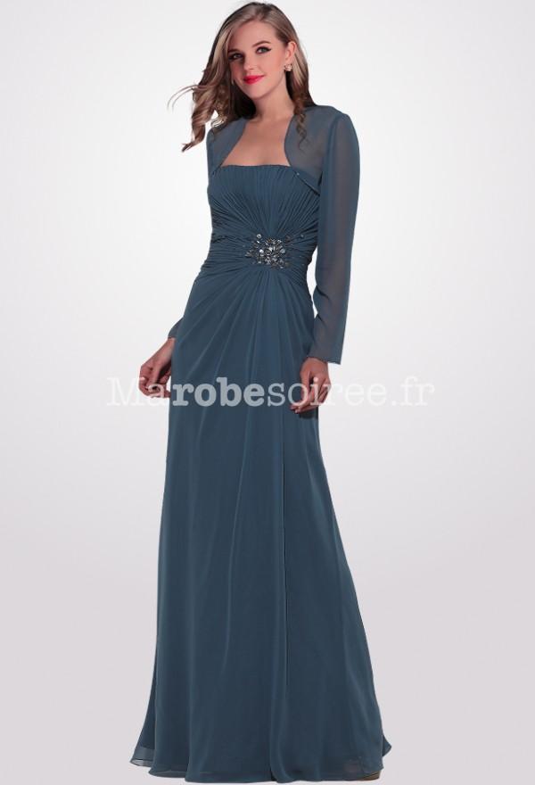 robe de soir e elea longue bustier fronc en mousseline sur mesure. Black Bedroom Furniture Sets. Home Design Ideas