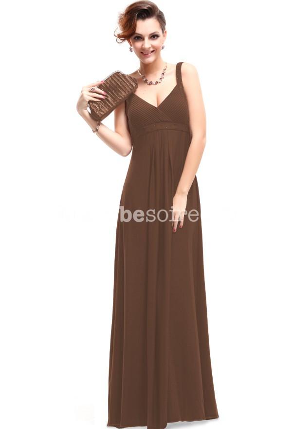 Robe soiree longue marron