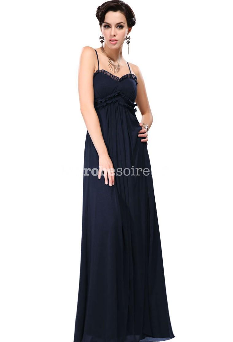 Robe de c r monie longue bleu marine simple bretelles fines - Robe demoiselle d honneur bleu marine ...