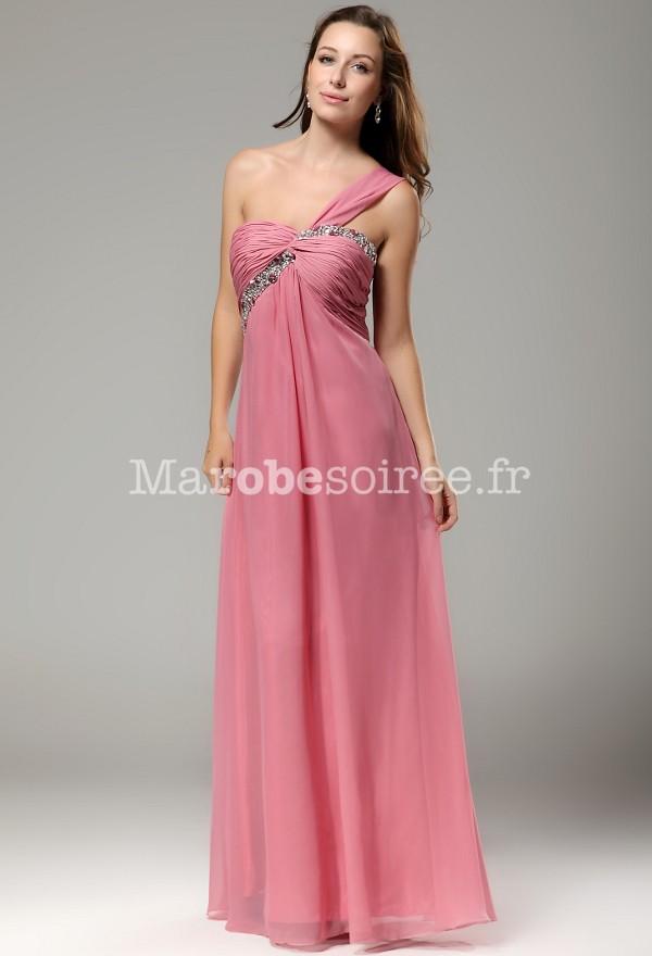 robe de soir e longue une paule avec strass mousseline rose poudr. Black Bedroom Furniture Sets. Home Design Ideas