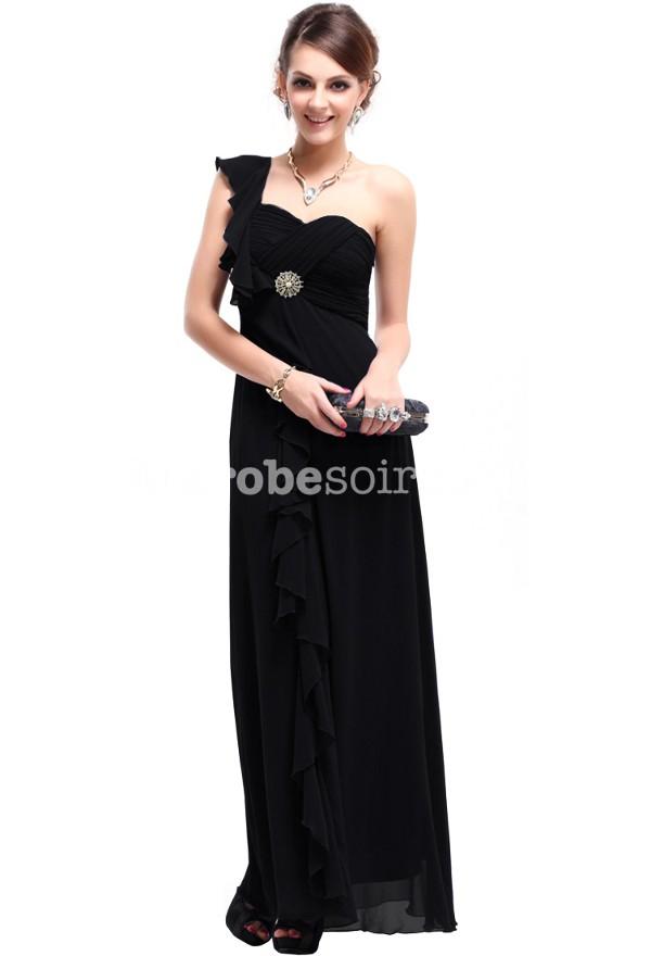 robe de soirée noir longue une bretelle