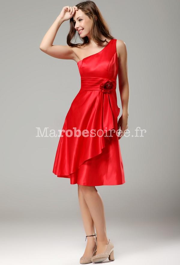 Wily , robe de soirée épaule asymétrique , sur demande 9633 en Satin  duchesse