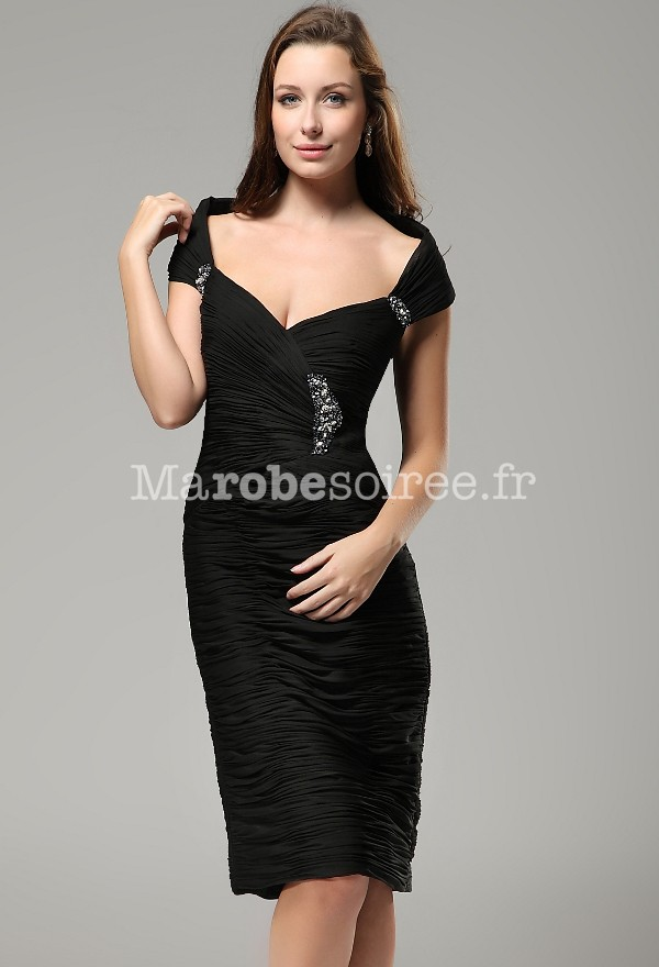 Robe noir bustier plissé près du corps en mousseline chic et classe 08206f5bddb7