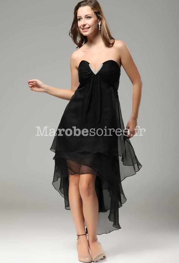 robe de soir e pas cher courte devant longueur derri re en mousseline. Black Bedroom Furniture Sets. Home Design Ideas