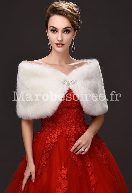 ... Etole cape blanc fourrure pour cérémonie  Châle blanc fourrure pour  mariage et cérémonie 400a598cf56