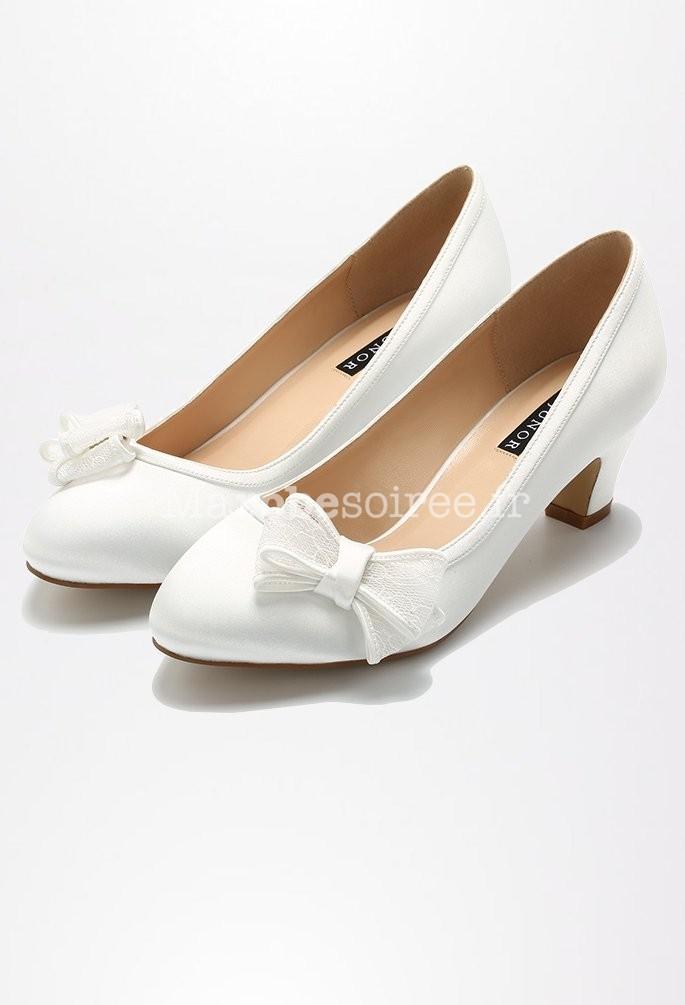 ... talons nœud dentelle  Chaussures de mariée satin ivoire ornées nœud en  dentelle  Chaussures de mariage satin bout rond nœud dentelle  Ivoire  Blanc  ... 391a787f19c