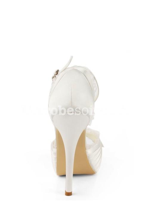 43d03e48be5d19 ... vintage satin; Escarpin mariée ivoire avec compensé ...