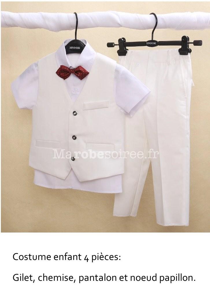 Ensemble Costume blanc garçon pour cérémonie  Guide des tailles · Costume  enfant ensemble 4 pcs pour mairage ... b7f3c4daed5