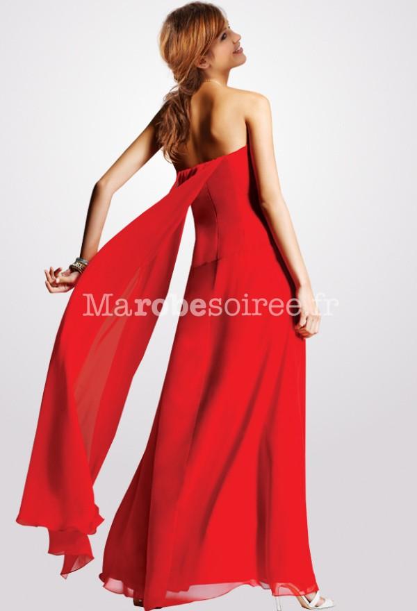 Robe longue rouge mousseline
