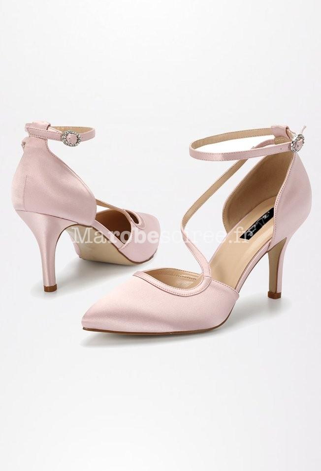 0ad1de43288f36 ... Chaussures de mariage rose poudré jeu de brides ...