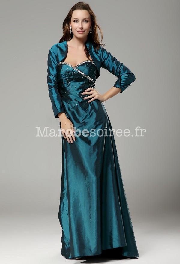 854b7fe5f89 Robe de soirée longue bustier et boléro taffetas pour mère de mariée