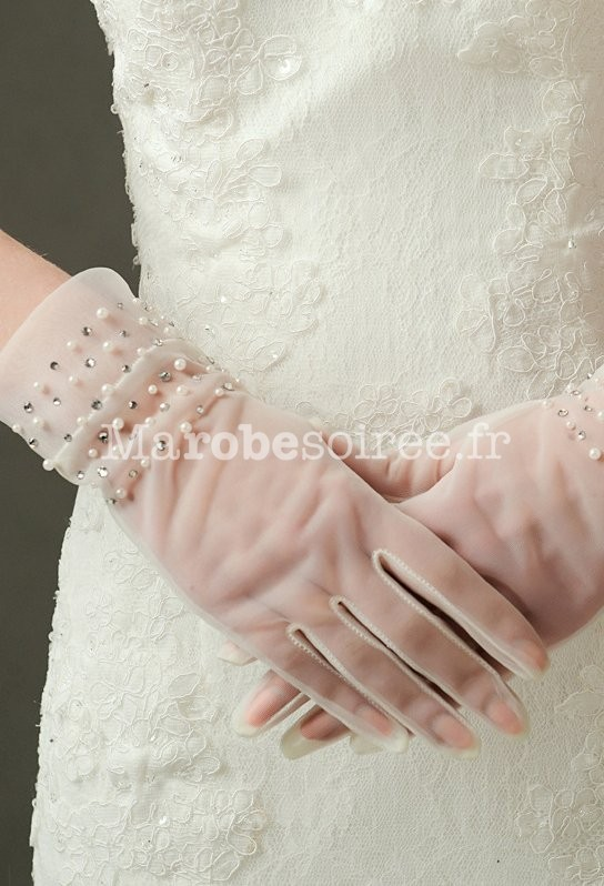 gants de mariage transparent avec perles. Black Bedroom Furniture Sets. Home Design Ideas