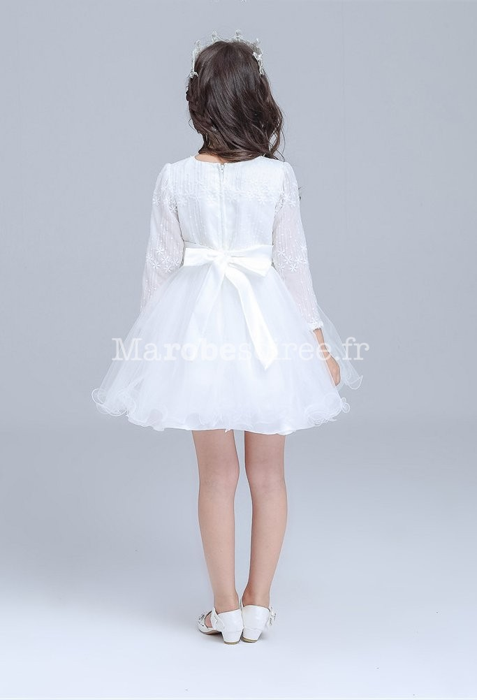 robe blanche manches courtes pour jeune fille. Black Bedroom Furniture Sets. Home Design Ideas