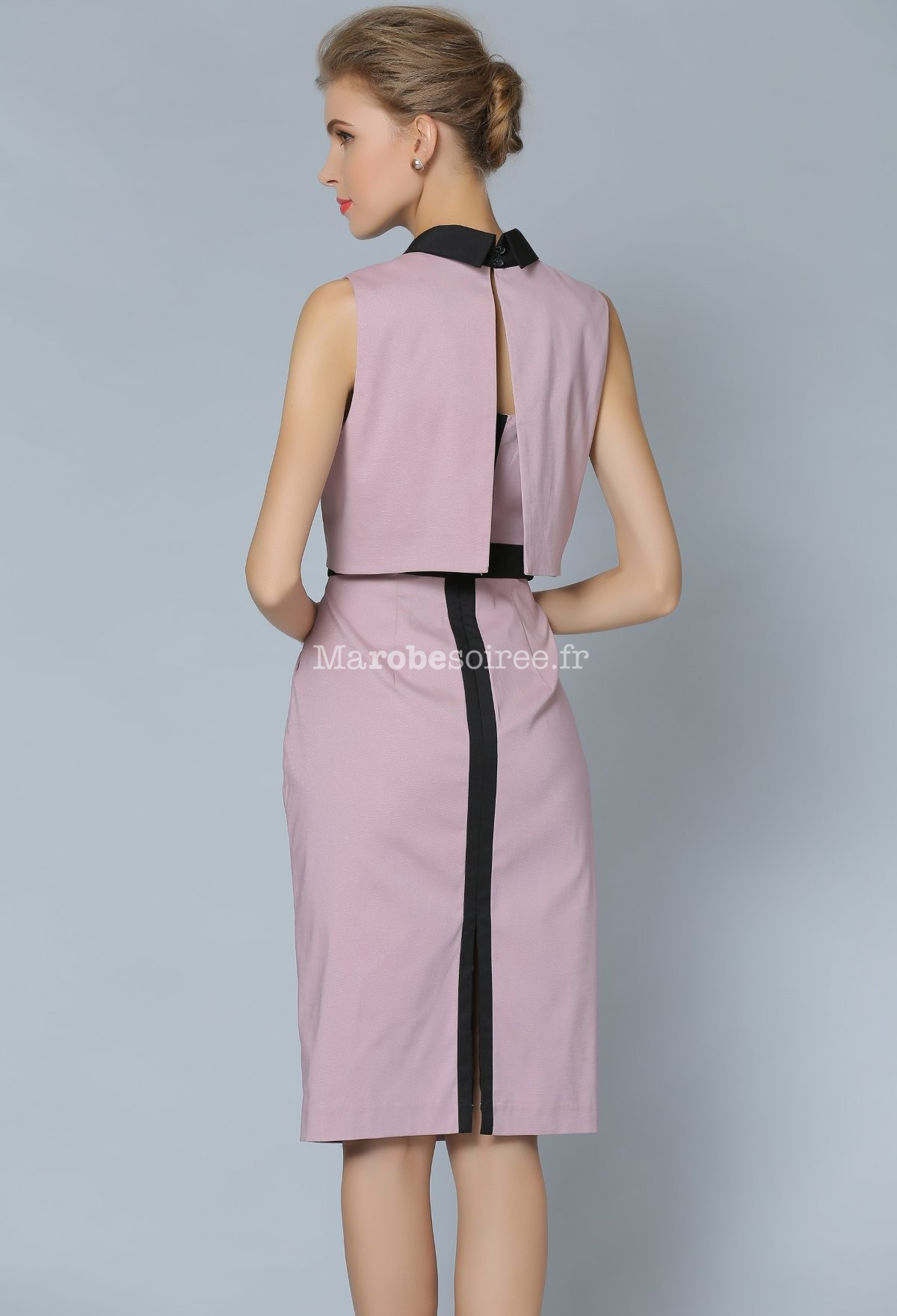 jolie robe tailleur rose poudr avec petite veste. Black Bedroom Furniture Sets. Home Design Ideas