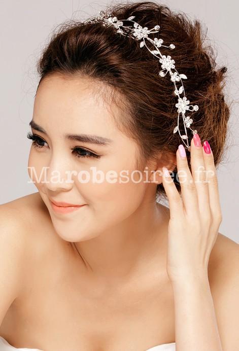 Peignette belle couronne de fleurs en strass pour mari e - Coiffure avec couronne de fleurs ...