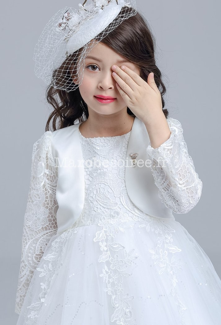 bolro enfant pour cortge au mariage en dentellle - Bolero Fillette Pour Mariage