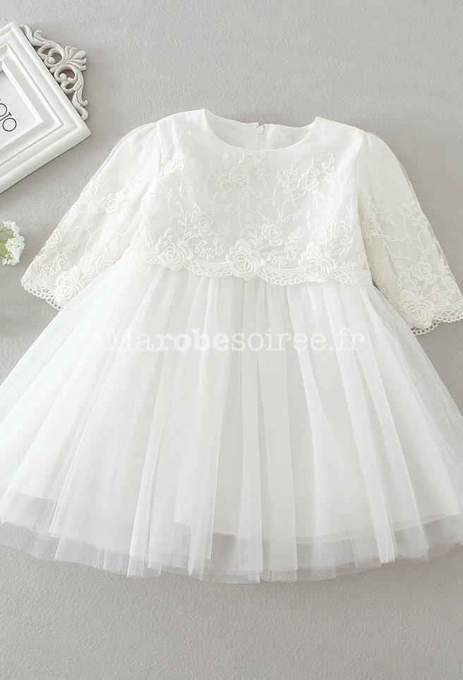 Robe blanche bebe manche longue