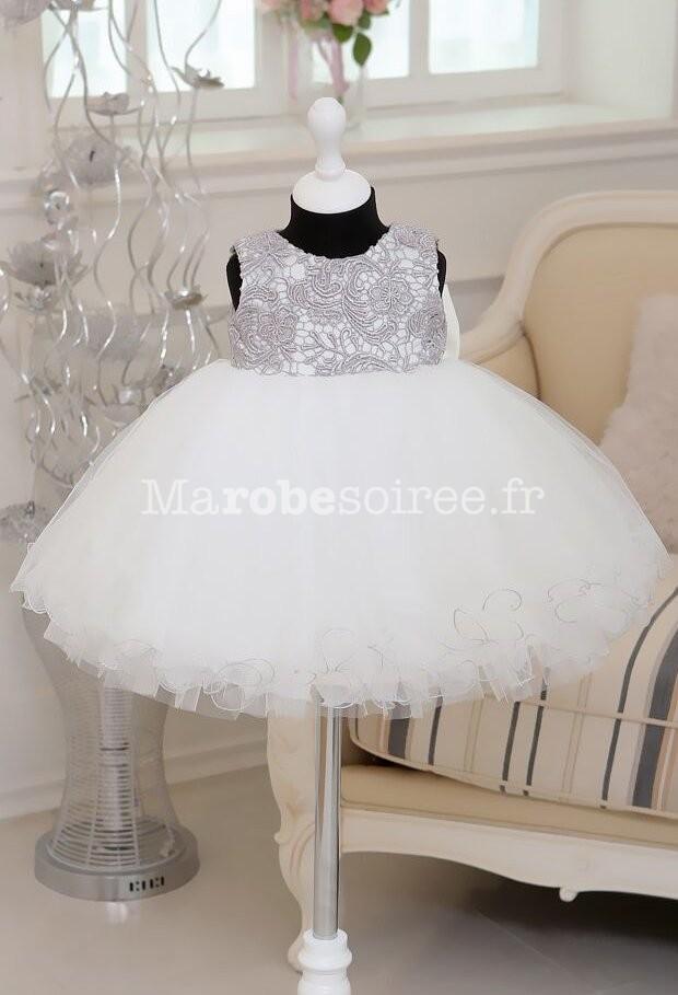 86b6d84507a55 ... dos nu  Robe de cortège jeune fille gris blanc en dentelle ...
