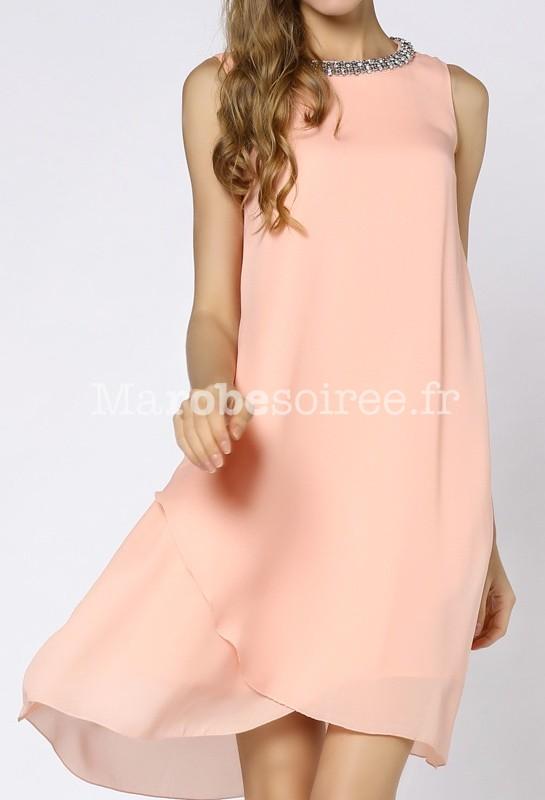 Robe de cocktail voile rose pastel mousseline