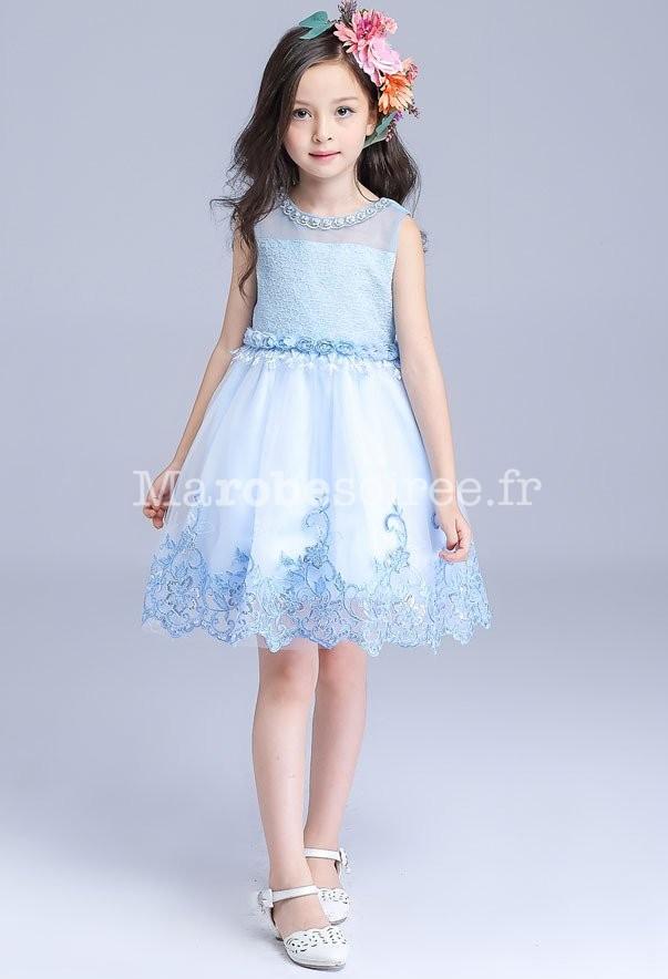 Jolie robe bleu pastel pour fille au mariage - Robe de petite fille pour mariage ...