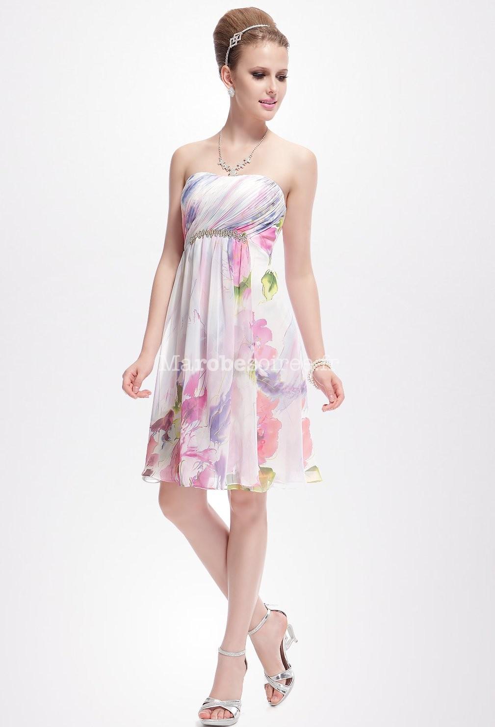 robe courte motif fleurs blanche