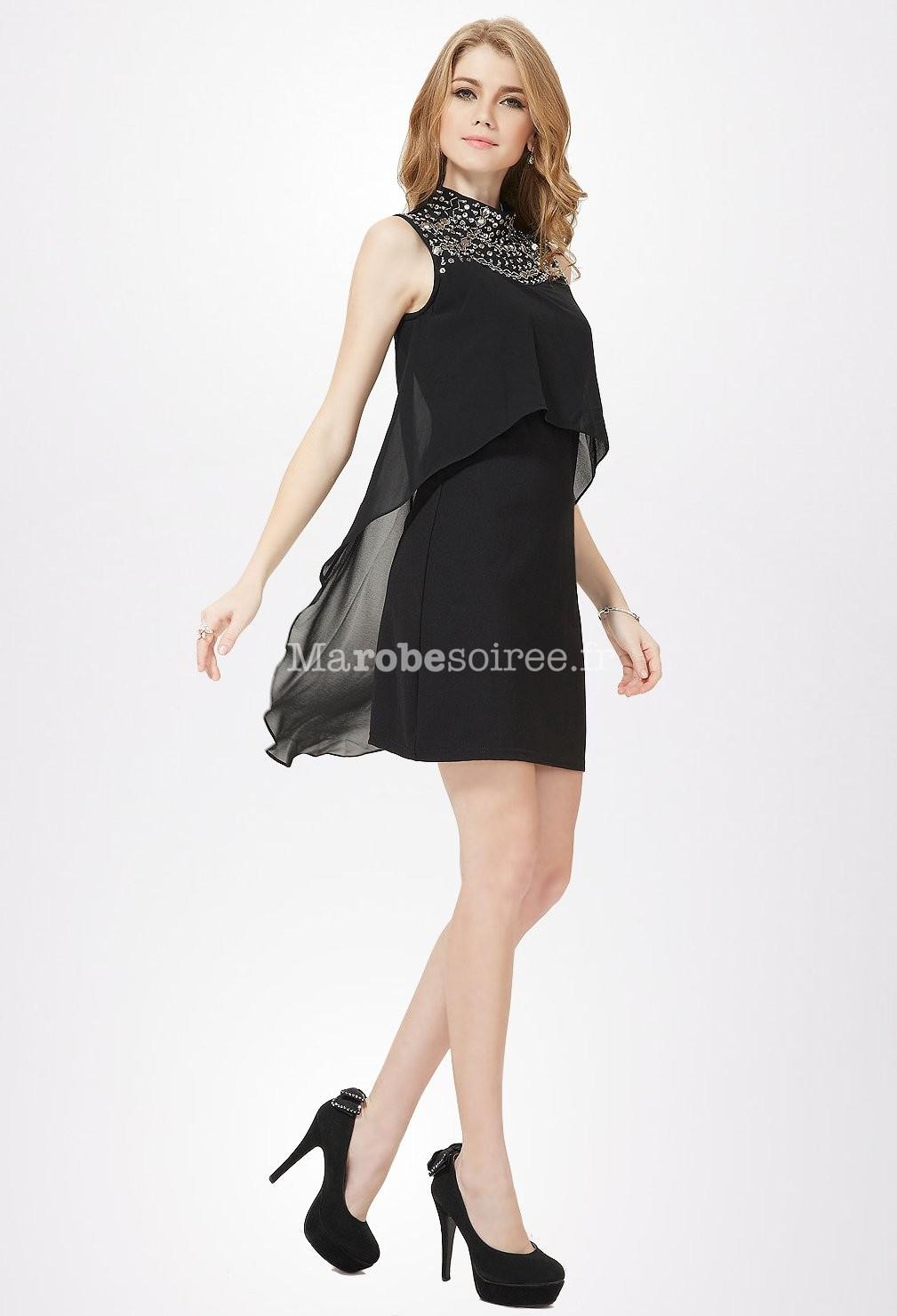 petite robe noire avec col en bijoux en mousseline With robe marié avec bijoux soirée
