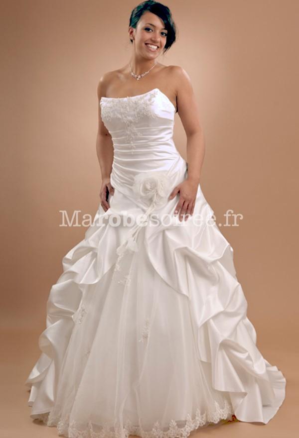 Robe de mari e bustier bi mati re broderies jupe vas e for Plus la taille des robes de mariage formel