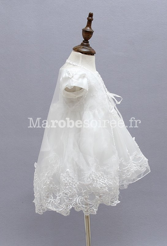 bc3f041c4d205 ... Robe blanche pour bébé petite fille Réf EF1778 - côté ...