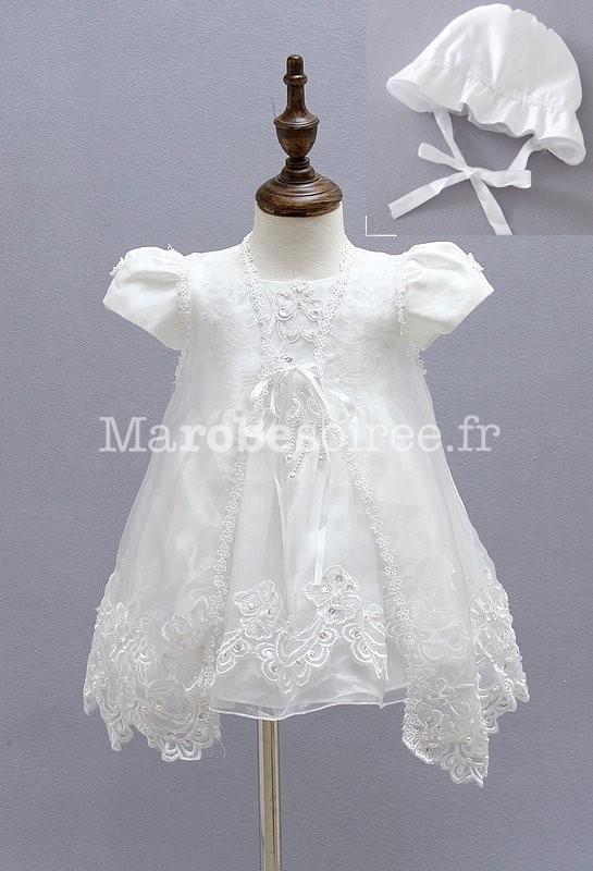 Robe blanche bébé fille pour baptême