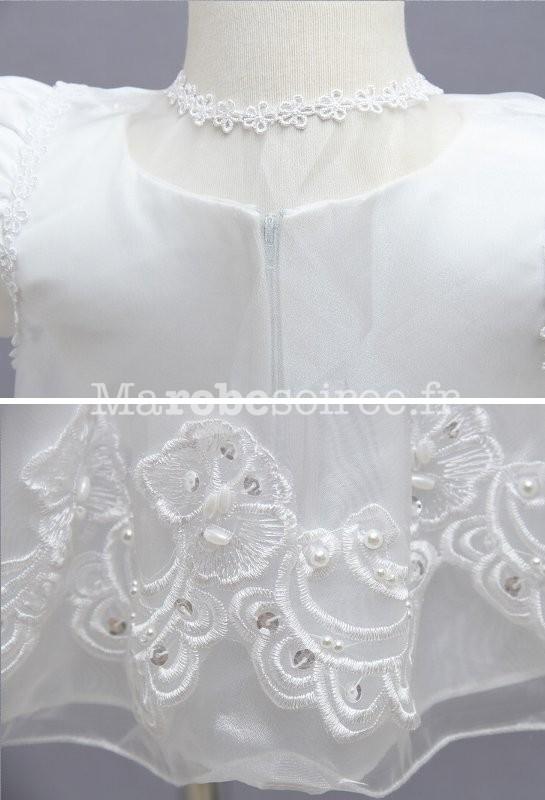 34ad2e62cf641 ... côté · Robe blanche pour bébé petite fille Réf EF1778 - zoom ...