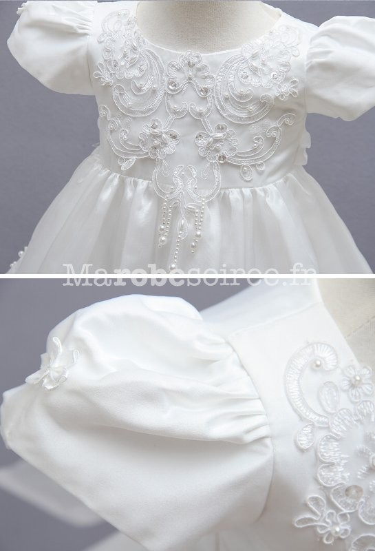245622b2490c0 Robe blanche pour bébé petite fille Réf EF1778 - zoom ...