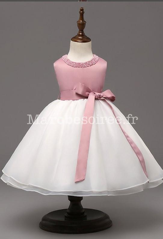 102fa06598249 ... Robe bébé rose poudré ceinture à ruban ...