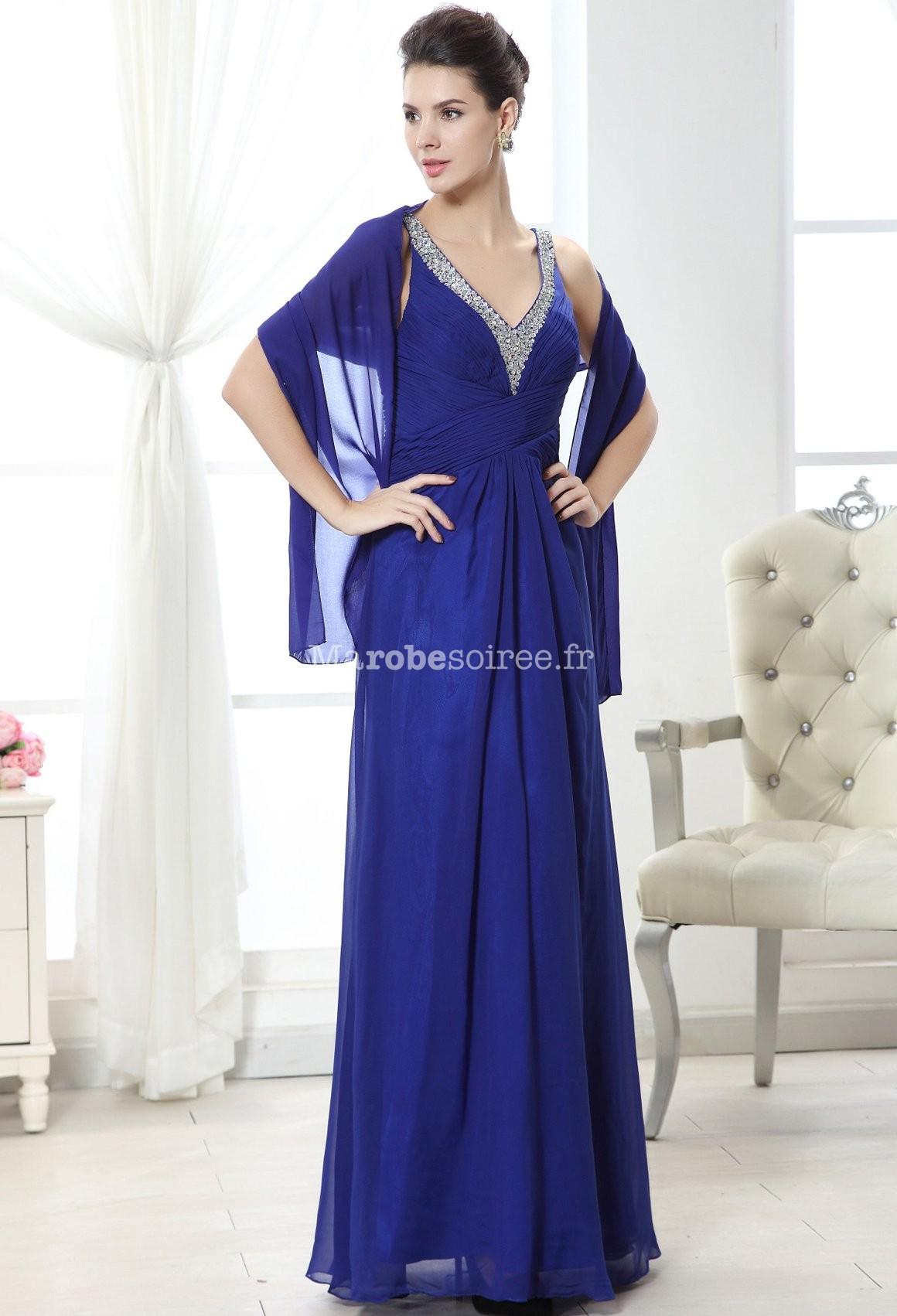 Robe soirée mousseline bleu bretelles et décolleté sequins 12031b7d73d9