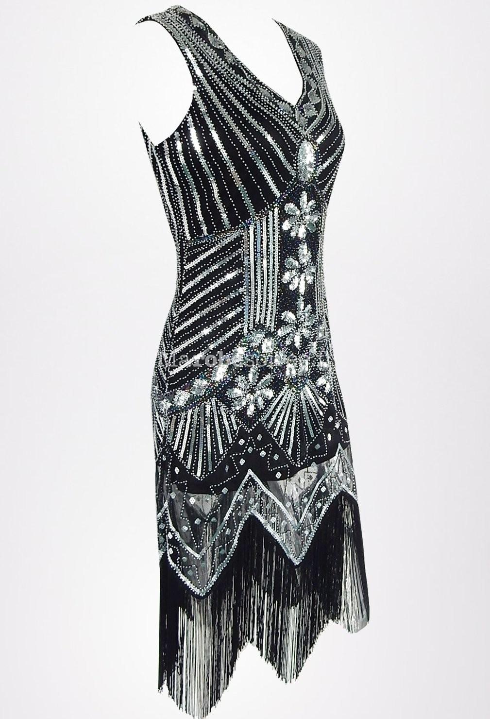 robe noire charleston vintage gatsby. Black Bedroom Furniture Sets. Home Design Ideas