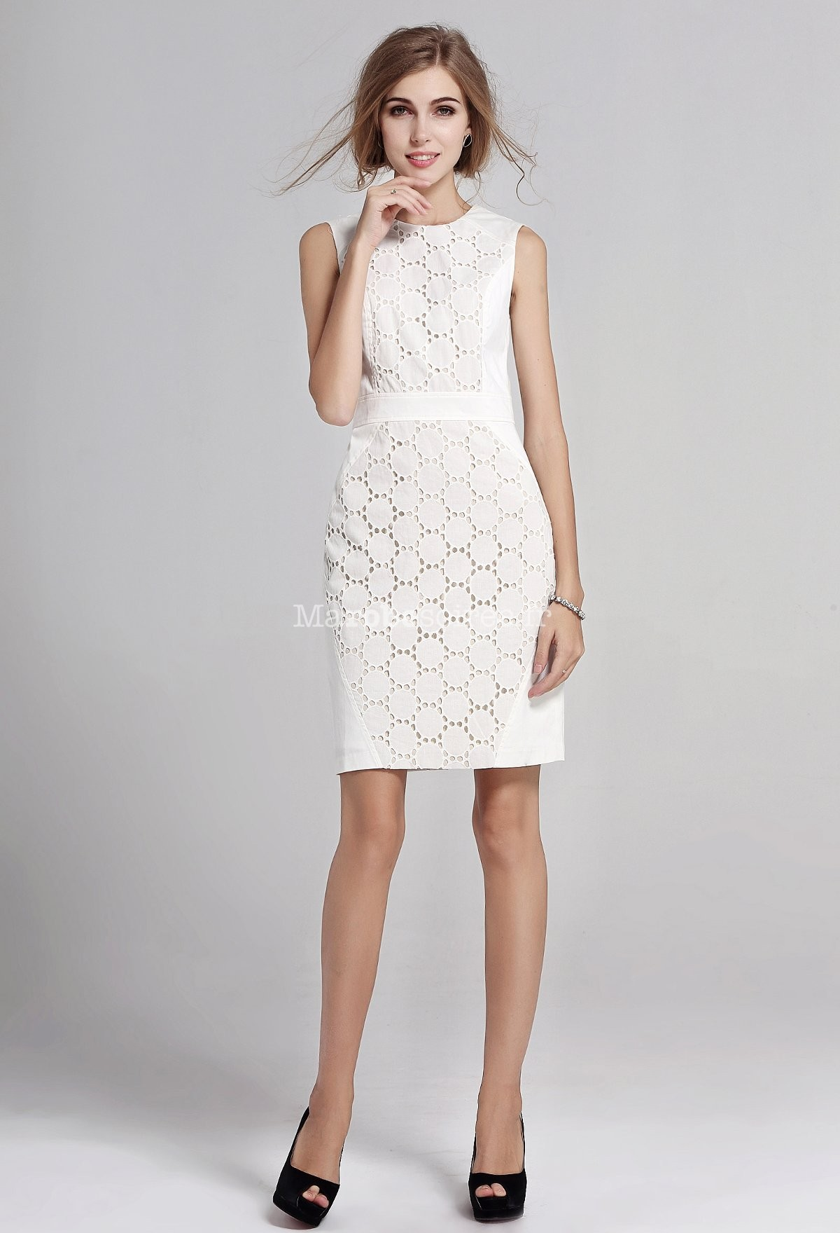 robe de cocktail blanche dentelle genoux. Black Bedroom Furniture Sets. Home Design Ideas